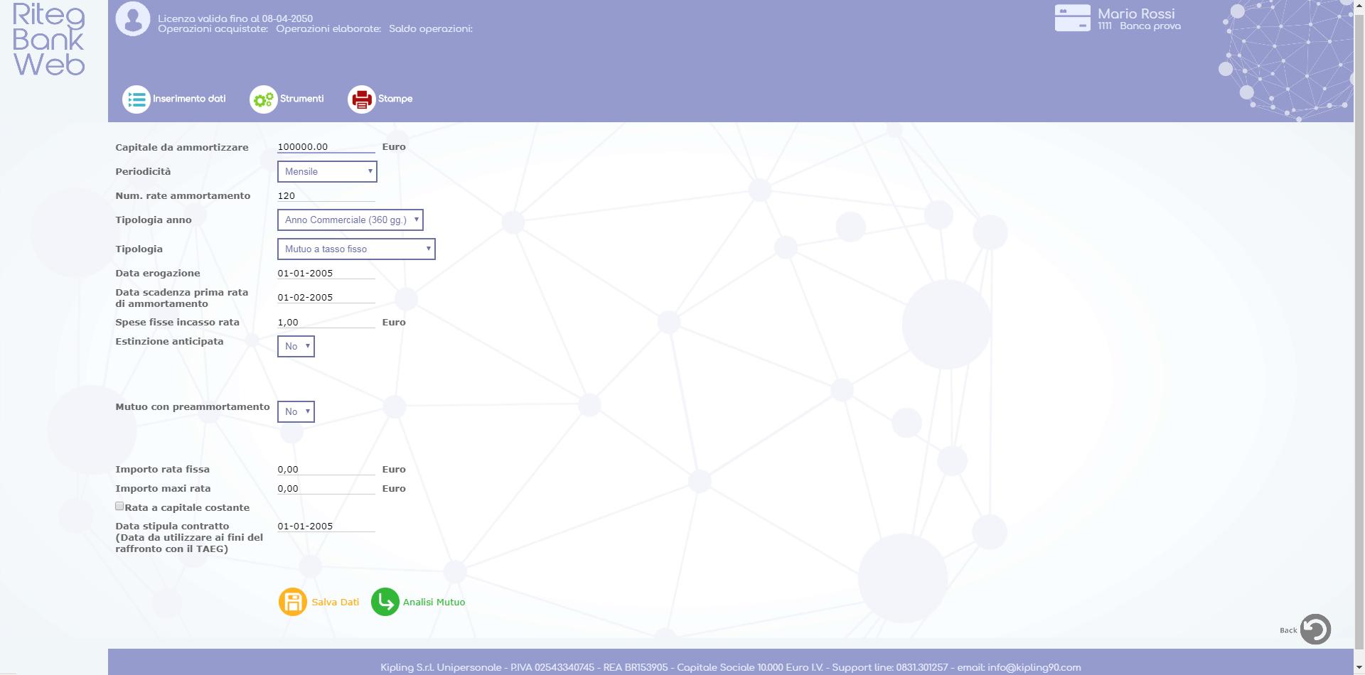 Riteg Bank Web - Dati base mutuo