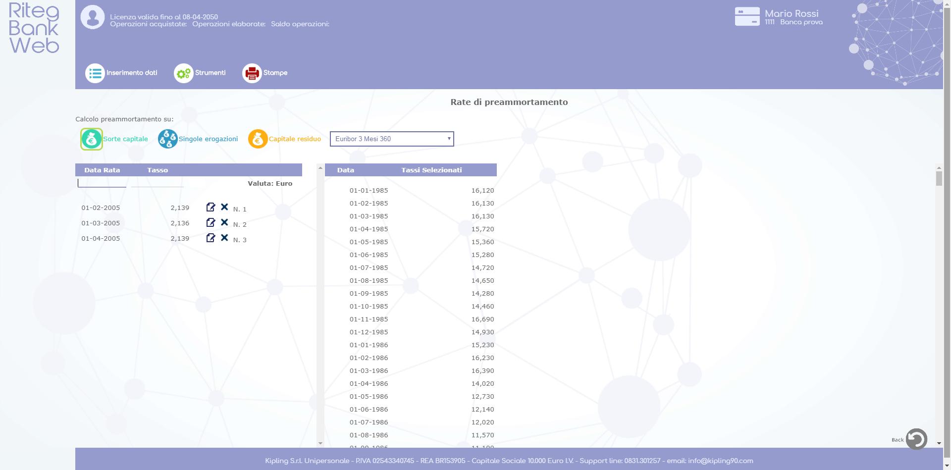 Riteg Bank Web - Rate di preammortamento