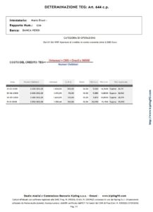 Calcolo del TEG da scalare - Stampa del TEG traminte la formula della matematica finanziaria